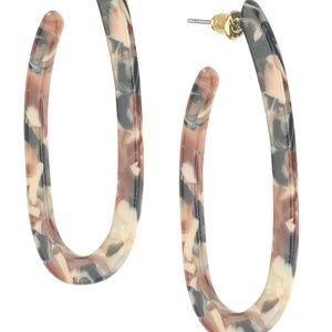 Marble Finish Lucite Stone Oval Hoop Earrings
